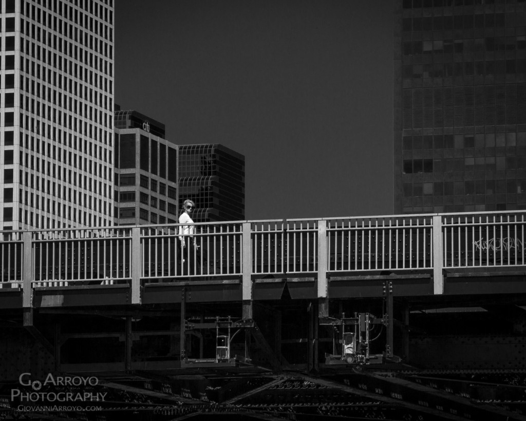 Lady on Chicago Bridge Street Photograph by Giovanni Arroyo