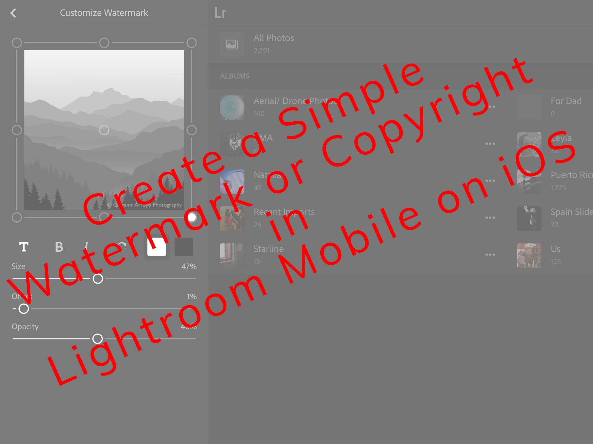 Tutorial Adding a Watermark or Copyright in Lightroom Mobile on iOS
